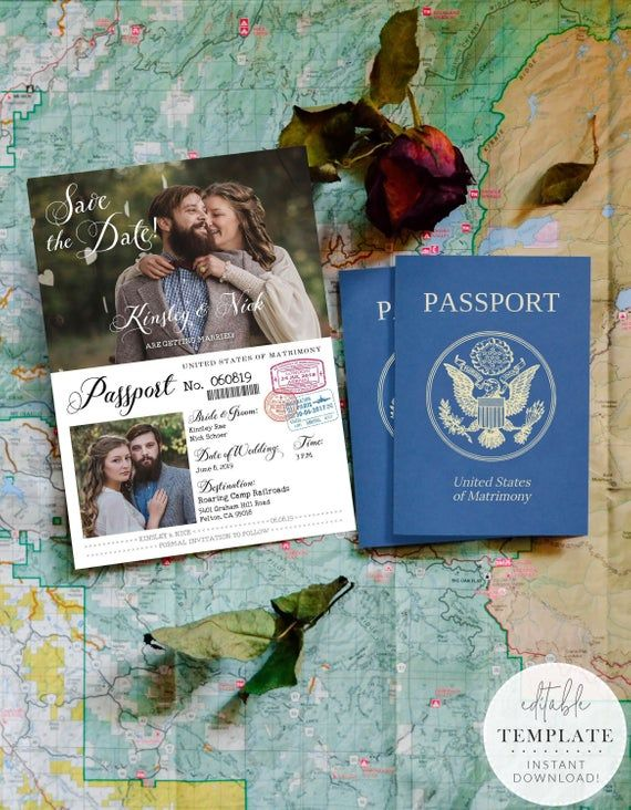 Vintage Passport-Style Save the Date OR Wedding Invitation, Editable, Printable Template, Customize for any event