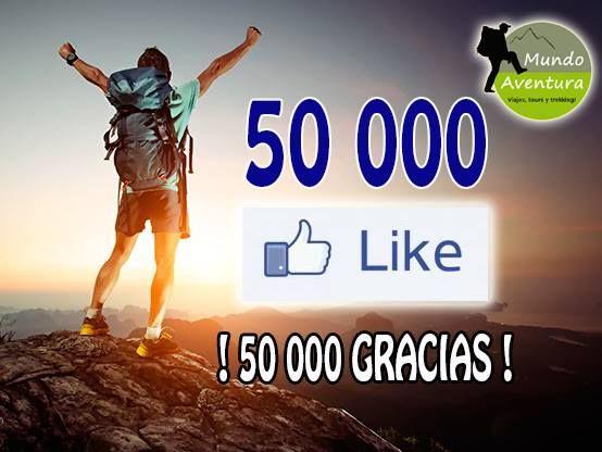 Nuestra comunidad de aventureros llegó a los 50 000 seguidores. Incontables aventuras y anécdotas... ¡50 000 GRACIAS QUERIDOS AMIGOS AVENTUREROS! Seguiremos siempre creciendo gracias a ustedes.