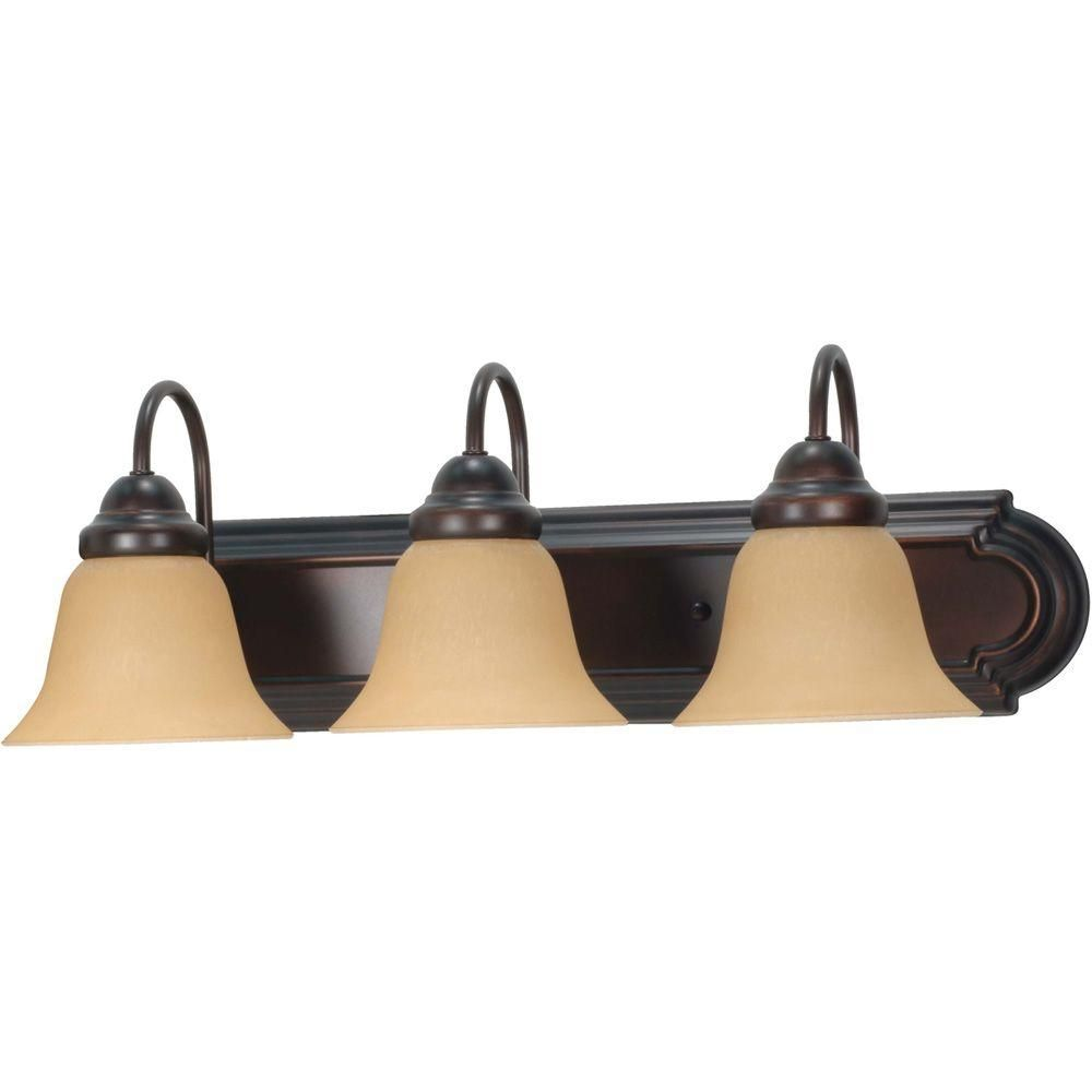 Glomar Ballerina 3 Light Mahogany Bronze Vanity With Champagne Linen Washed Gl Hd 1265 At The Home Depot