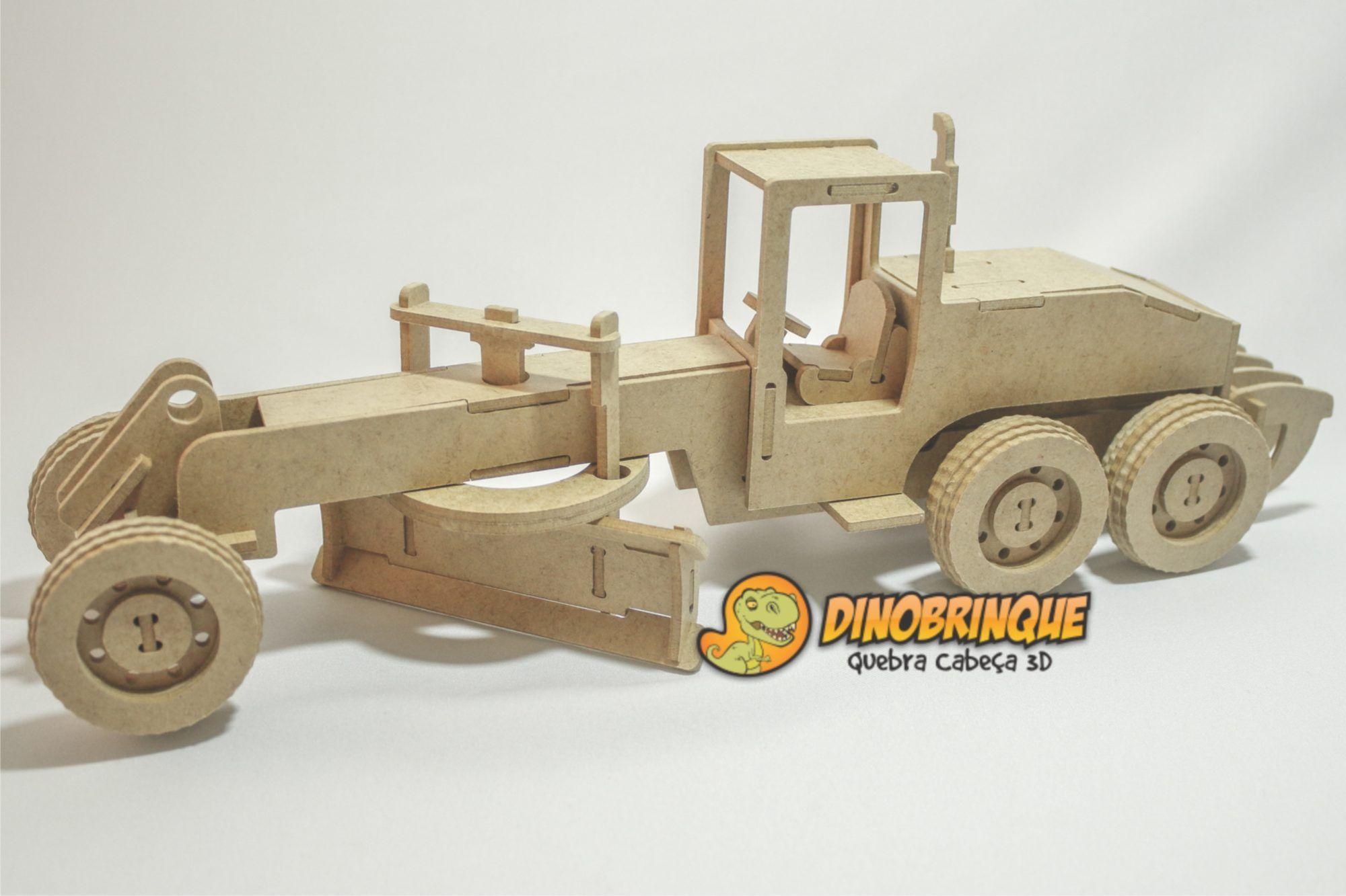 motoniveladora dinobrinque quebra cabeça 3d