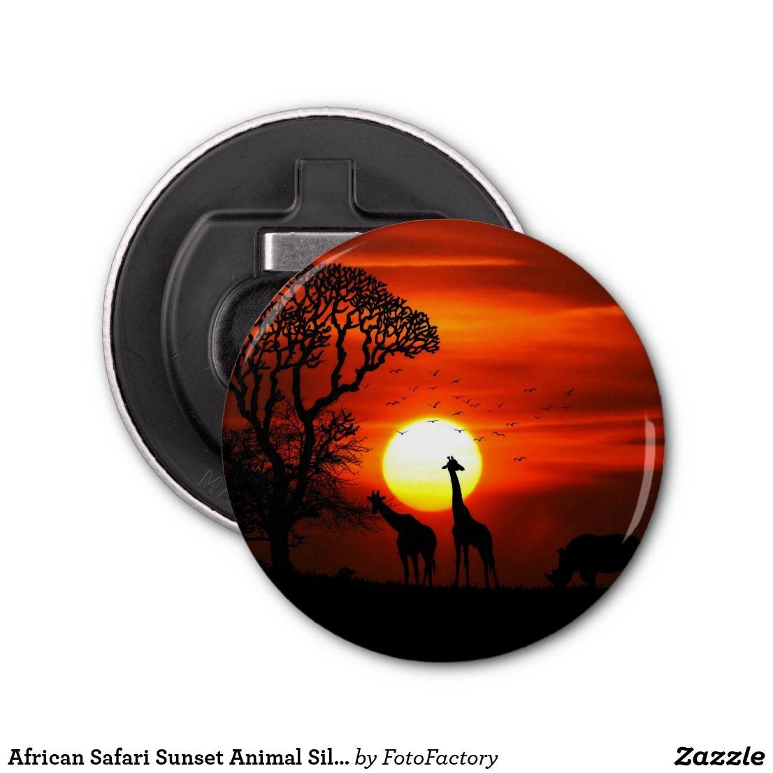 African Safari Sunset Animal Silhouettes Bottle Opener Zazzle Com Animal Silhouette African Safari African