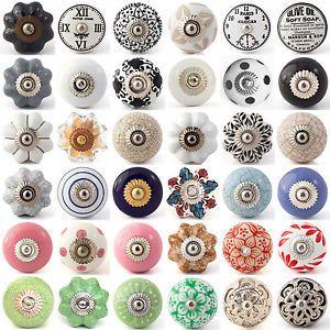 Multi coloured ceramic knobs drawer pull cupboard door knobs ...