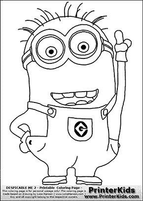 Despicable Me 2 Minion 1 Pointing up Coloring Page Bulletin