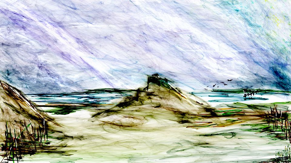 A shore scene. Digital sketch in Flame Painter on-line.   Leslye Sinn, Dragonmum Designs 2014