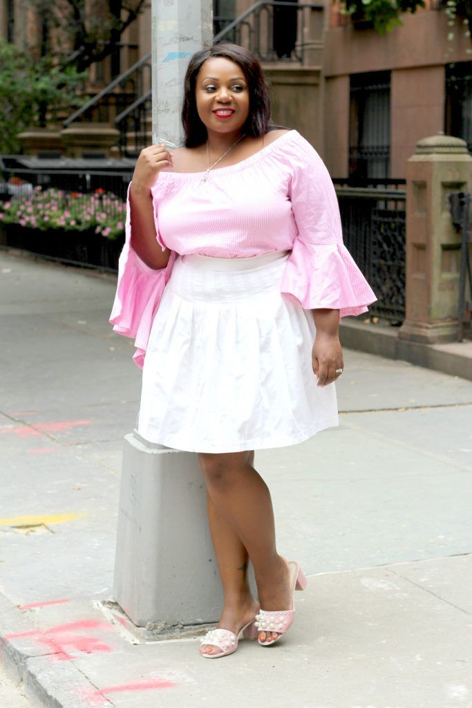 9b6fb16da5507 Lifestyle blogger Sandee Joseph of CurvEnvy wearing New York   Company Off  Shoulder Top