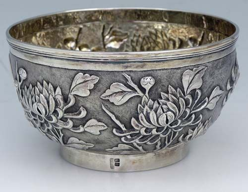 Chinese Export Silver Bowl By Hing