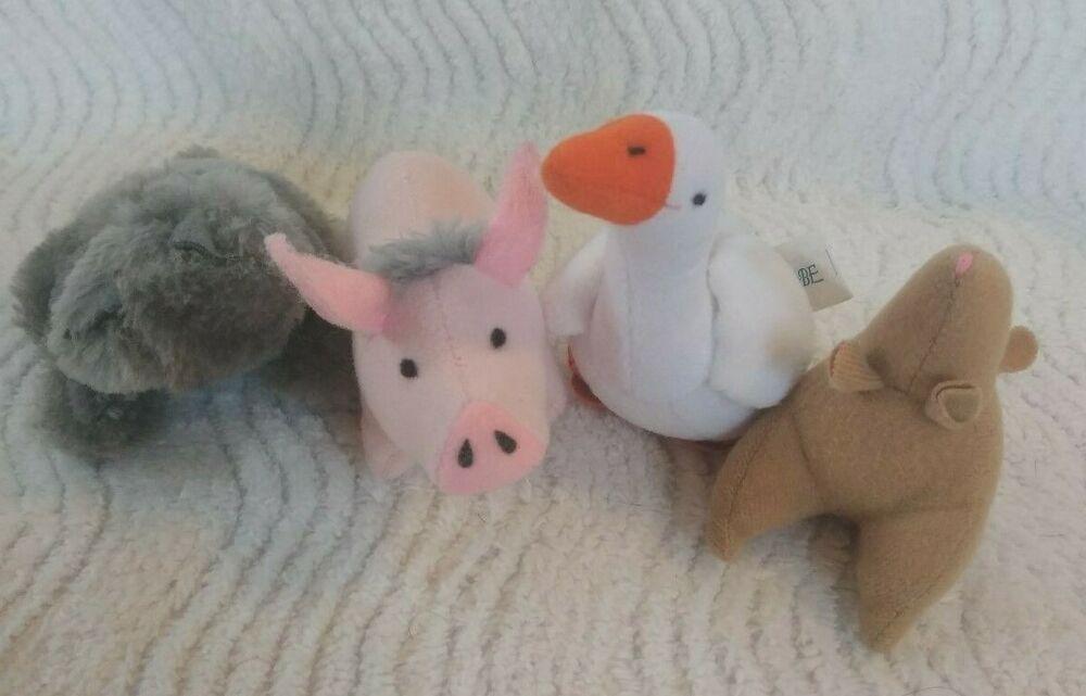 Vtg 1995 Mcdonalds Babe Toy Set 4 Pig Goose Mouse Cat