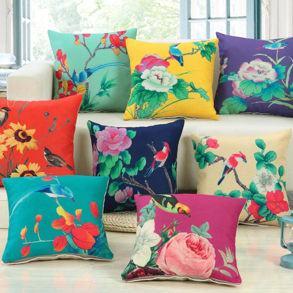 Sofa Pillow Case Big Floral Print
