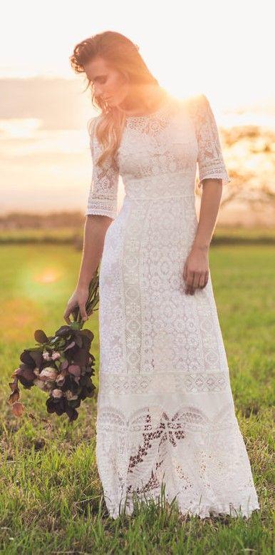 Edwardian Vintage Nottingham Lace Wedding Dress Irish Dresses Antique Boho