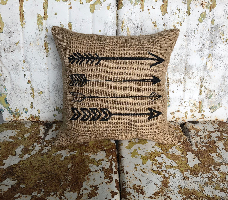Arrows pillow square burlap or cream cotton accent throw