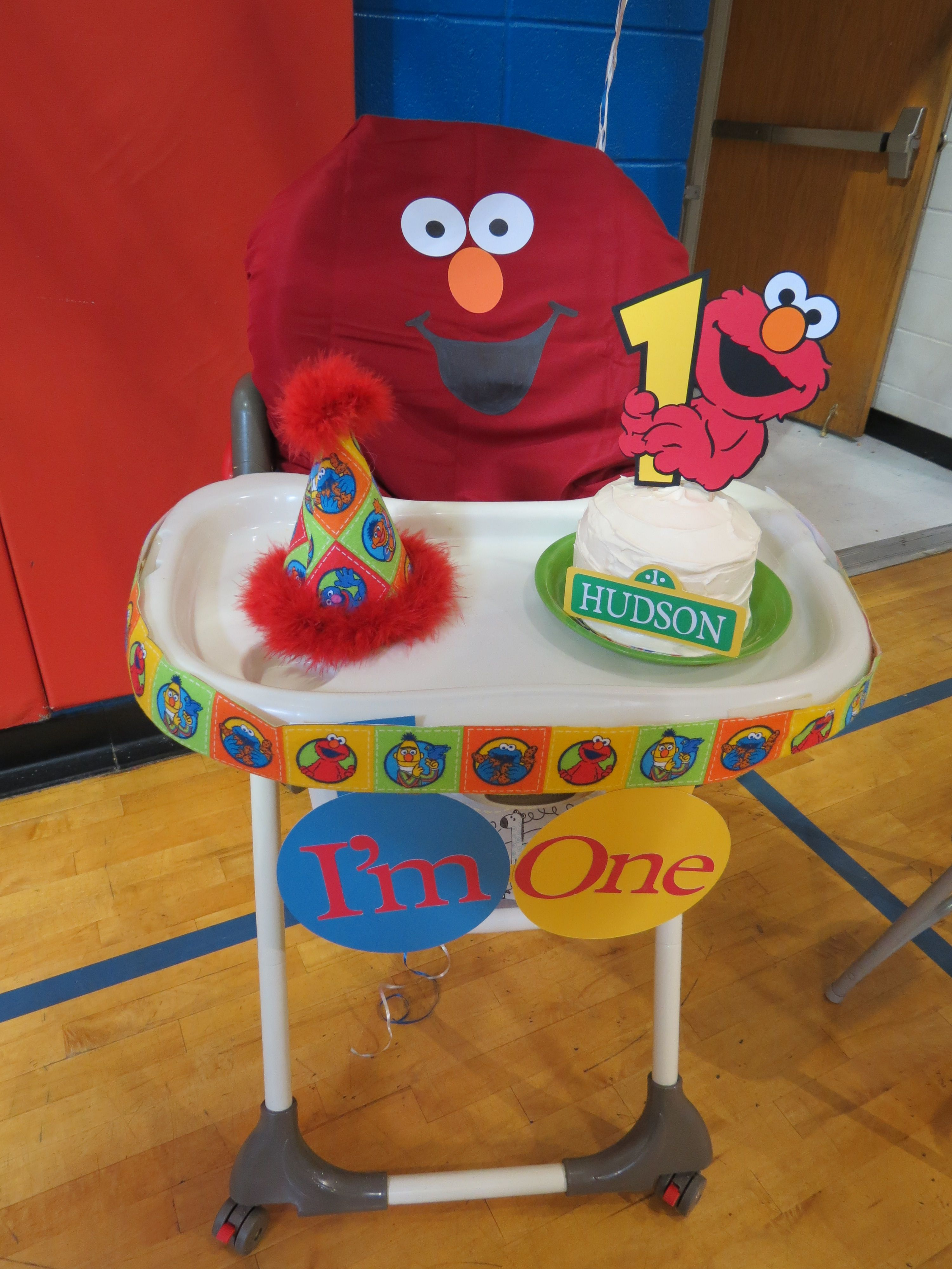 1st Birthday Sesame Street High Chair Decor The Back Was A Pillow Case I