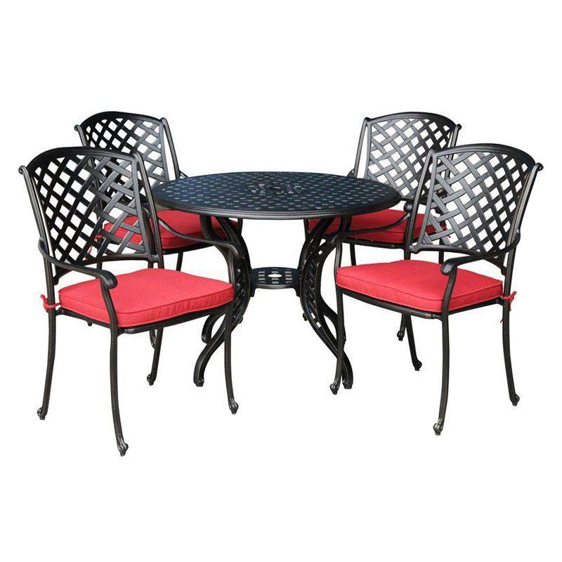 Have to have it. Kontiki Bordeaux Cast Aluminum Round Patio Dining Set - $999.99 @hayneedle