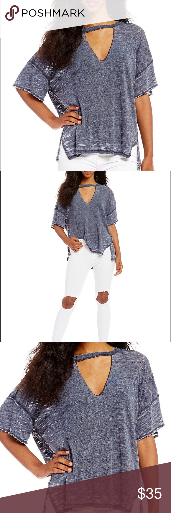fbad064d32cb FREE PEOPLE TOP FREE PEOPLE JORDAN CUT OUT V-NECK T Oversized silhouette  Cutout v
