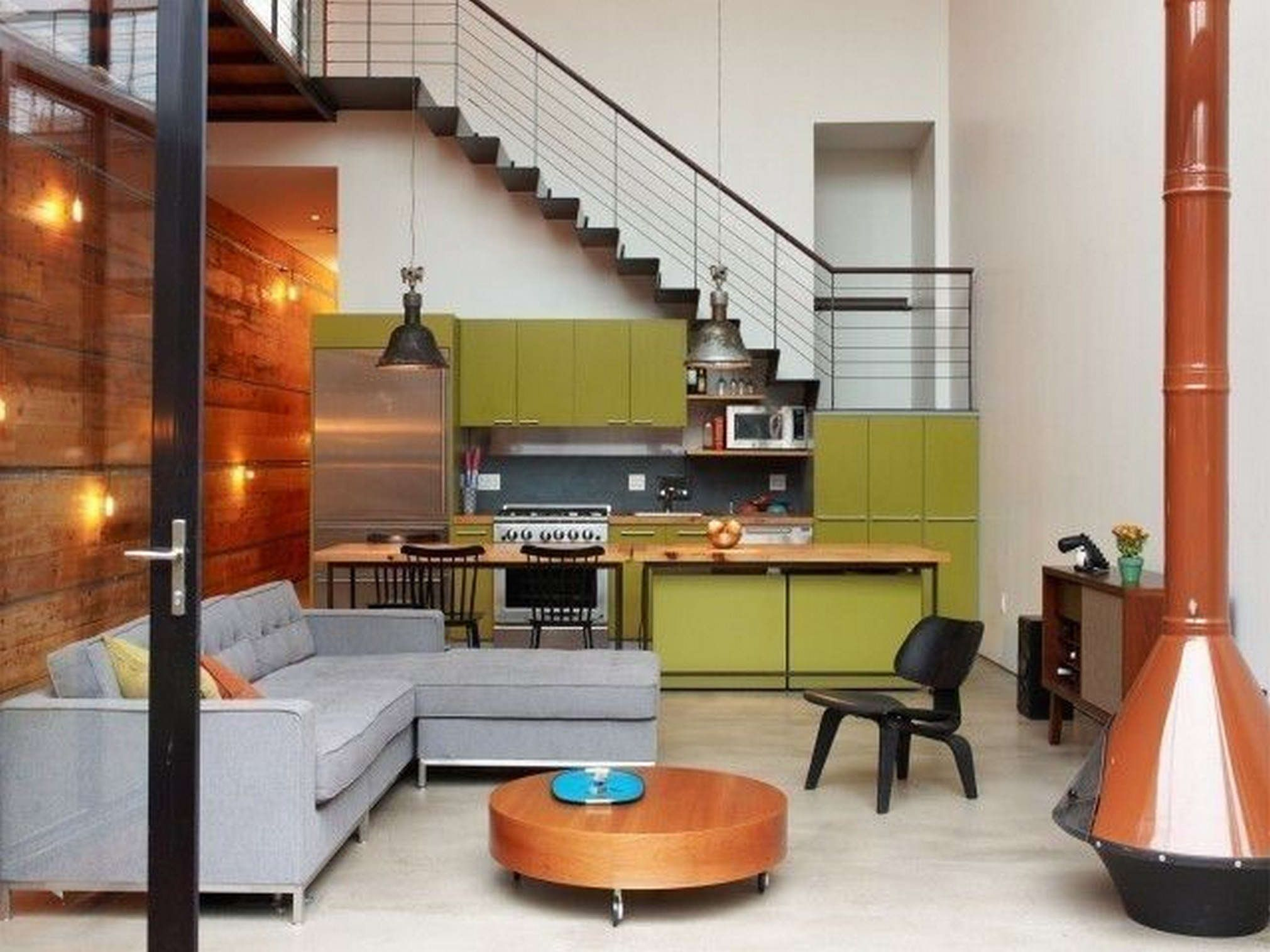 Exceptional Kitchen:Elegant Kitchen Under Stair Decor With With Green Modern Laminated  Kitchen Cabinet And L