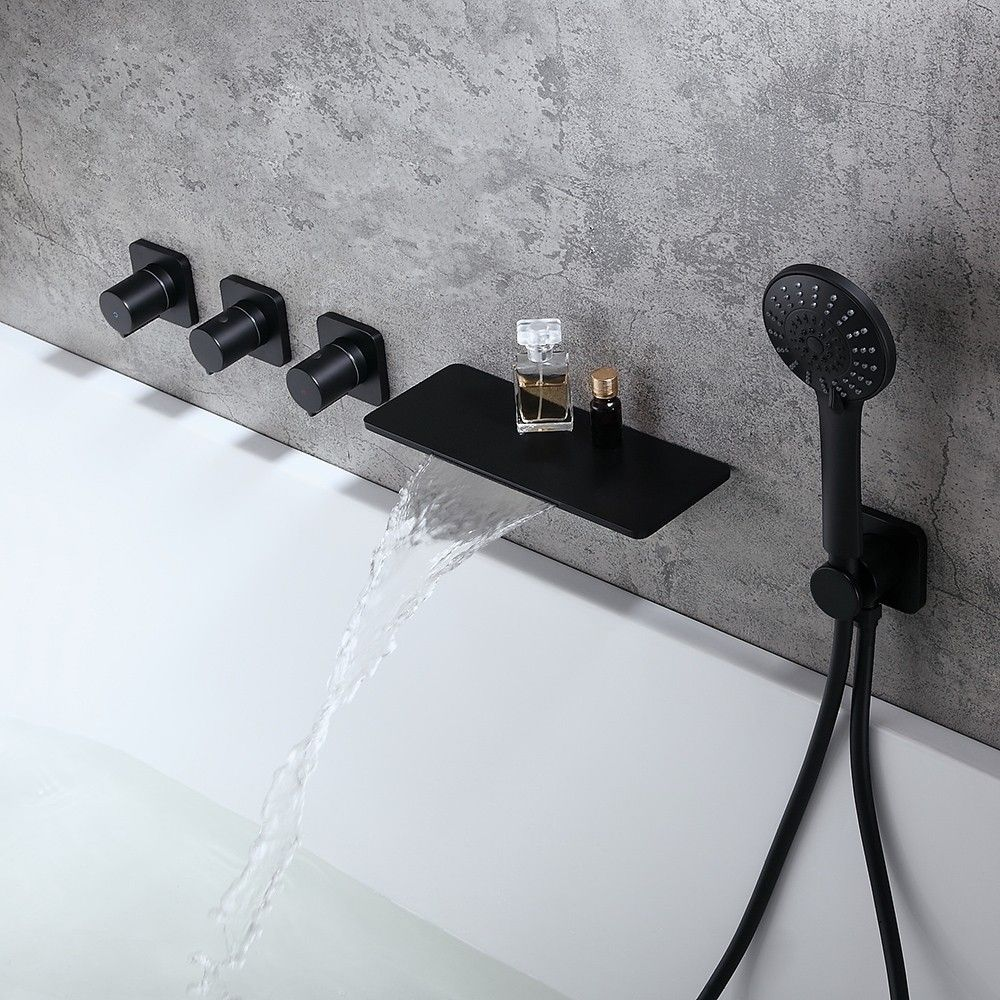 Modern Stylish Wall Mount Waterfall Bathtub Faucet With Hand Shower In Matte Black Solid Brass Wall Faucet Bathtub Faucet Waterfall Bathtub Faucet