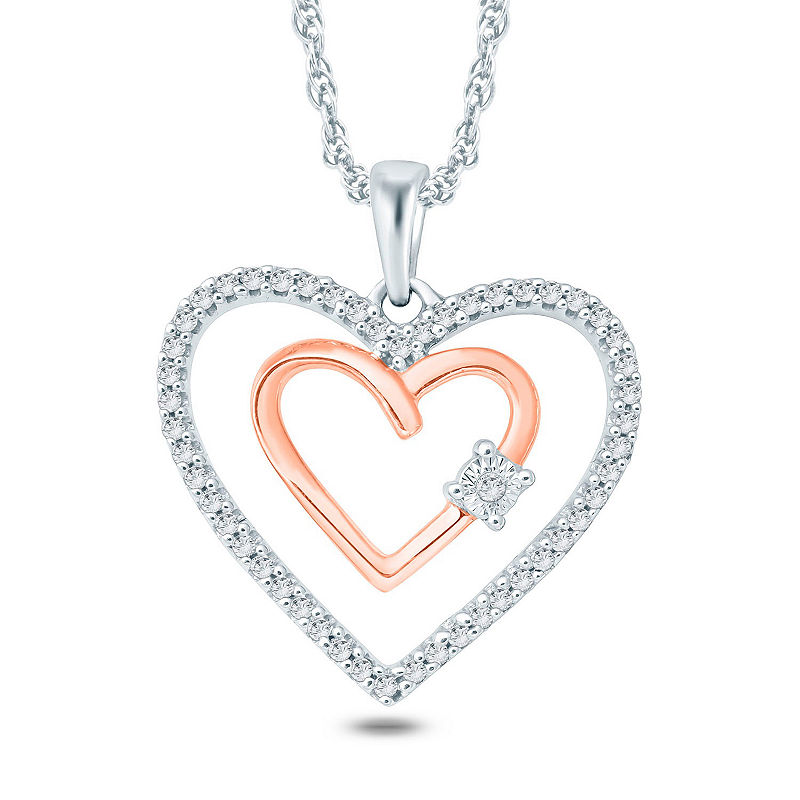 Womens 1 6 Ct T W White Diamond 10k Gold Heart Pendant Necklace Heart Pendant Diamond Heart Pendant Gold Heart Pendant