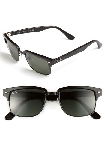 $150, Clubmaster Square 52mm Sunglasses Green One Size by Ray-Ban. Sold by