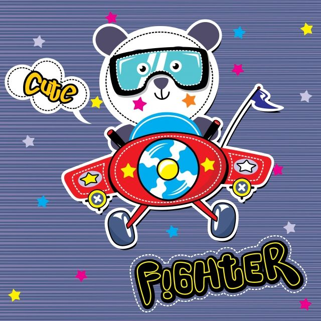 8f19e51133 Cartoon Of Cute Pilot Little Panda Flying With Airplane On Striped ...