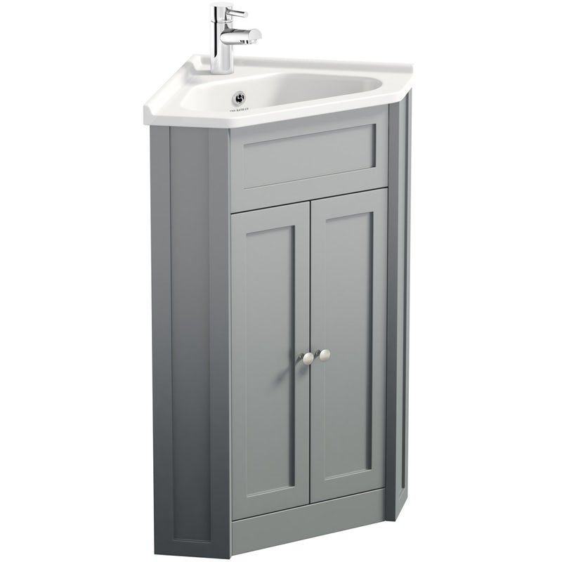 The Bath Co Camberley Satin Grey Corner Floorstanding Vanity Unit