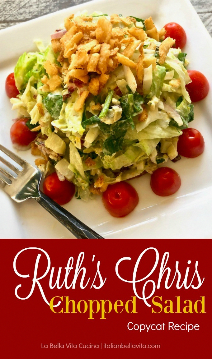 AMAZINGLY Delicious Ruth's Chris Chopped Salad Copycat recipe is the perfect salad mix of fresh spi