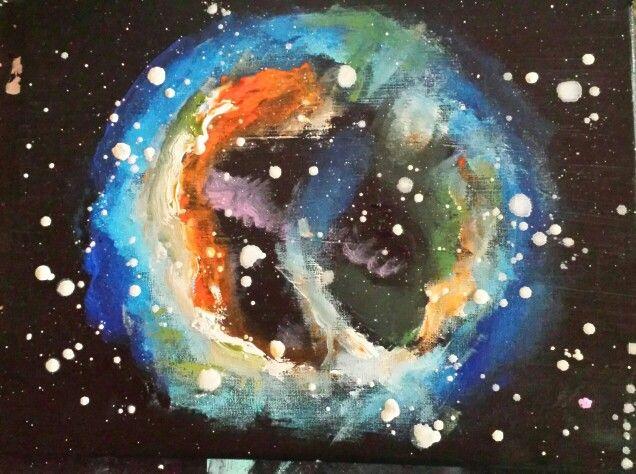 Ontplofte ster geschilderd in elk gewenst formaat te bestellen