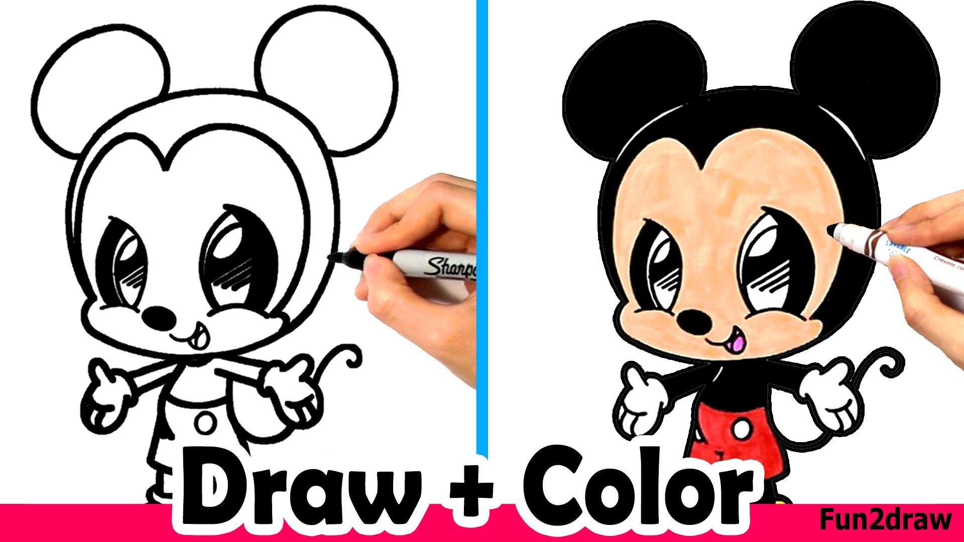 How to draw mickey mouse cute easy and color with for How do you draw a mouse