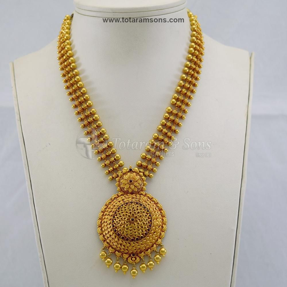 Beautiful Antique Light Weight Floral Semi Long Haar Gold Necklace Indian Bridal Jewelry Gold Pendant Jewelry Gold Jewelry Simple Necklace