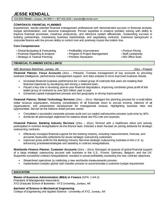 financial advisor resume template builder planner example Home - resume for financial advisor