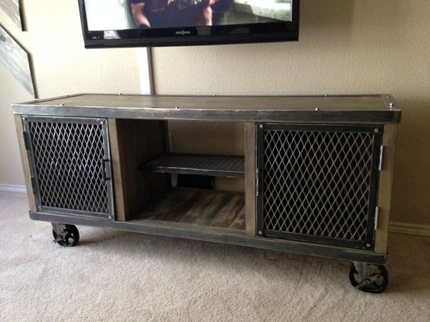 Vintage Industrial Media Console Metal TV Stand Minimalist Design Steel Credenza Reclaimed Wood and Other Customization Available Urban