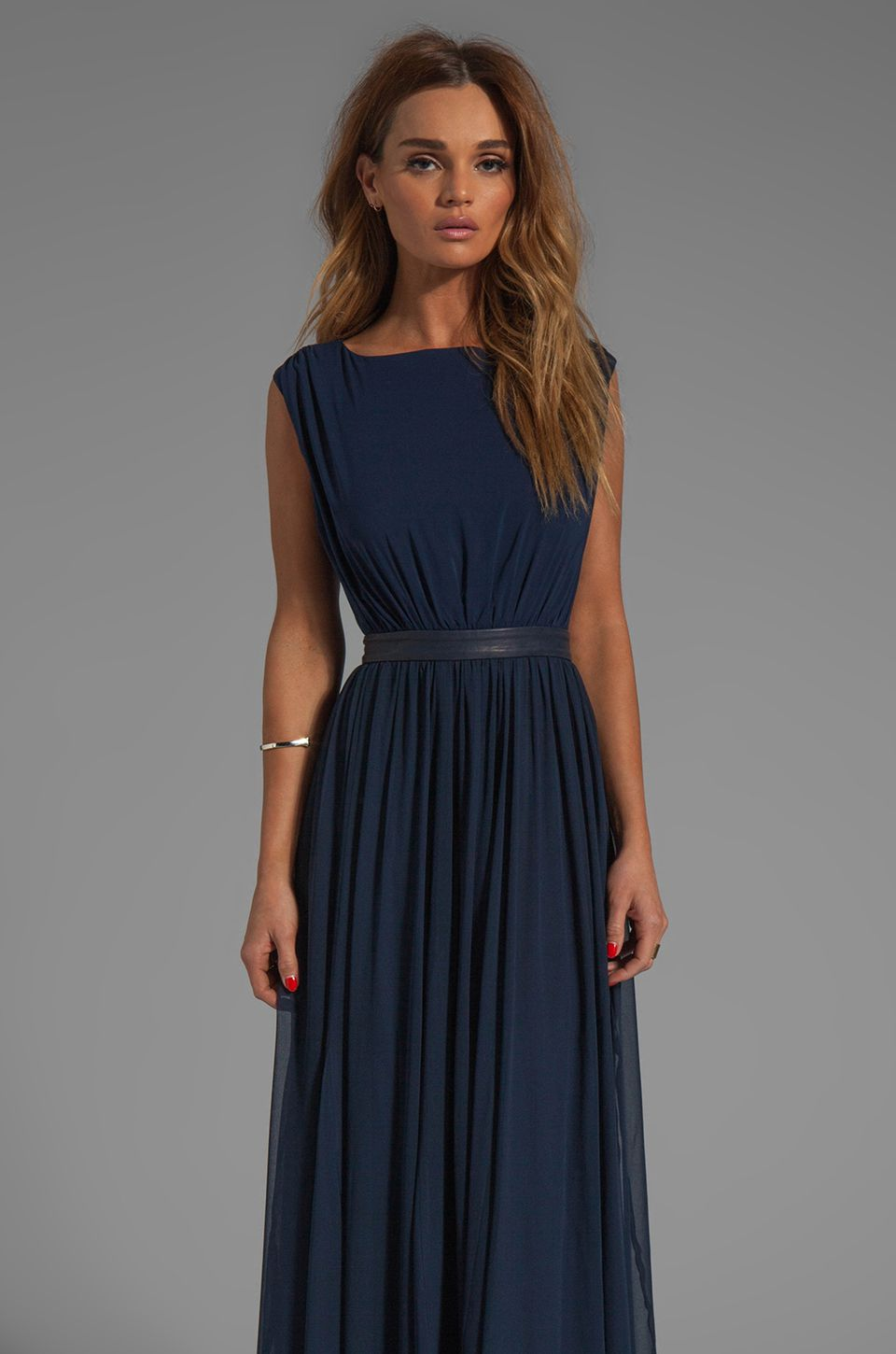 ceefd12b34 Alice + Olivia Triss Sleeveless Maxi Dress with Leather Trim in Navy ...