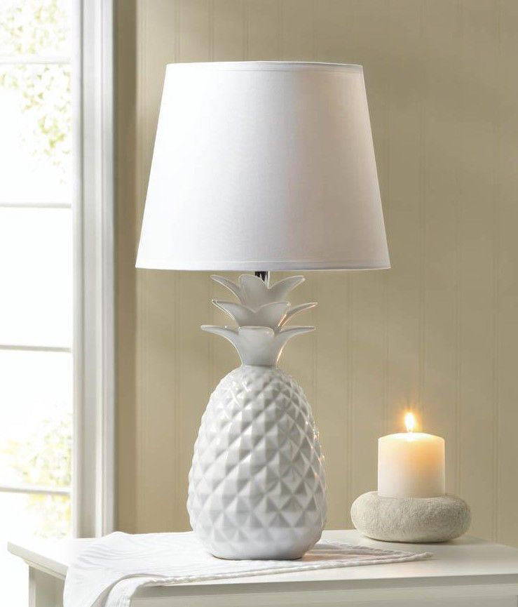 Room · white pineapple globe orb ceramic bedside table lamp