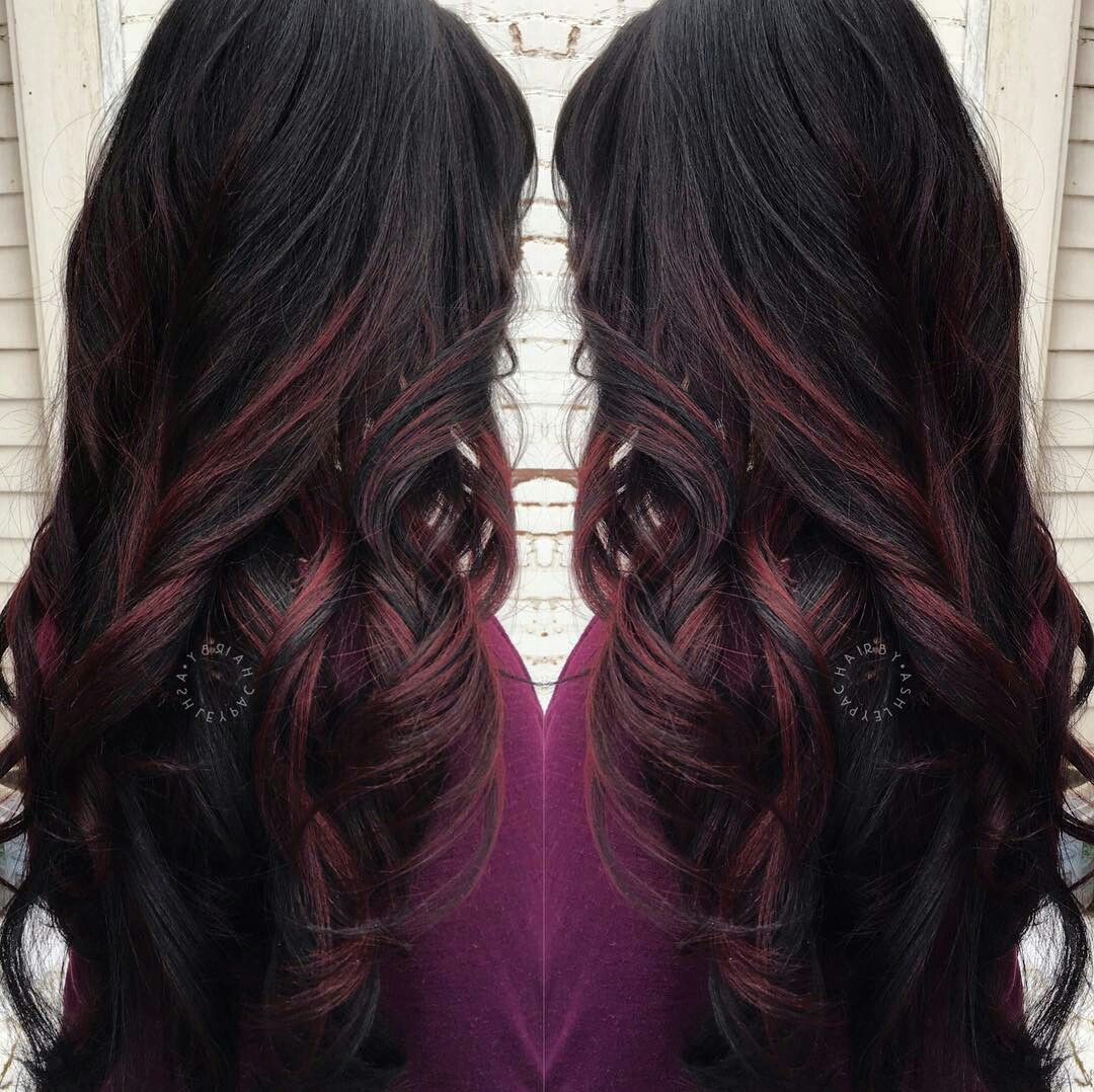 Black Hair With Red Highlights Black Hair With Highlights Hair Color For Black Hair Hair Highlights