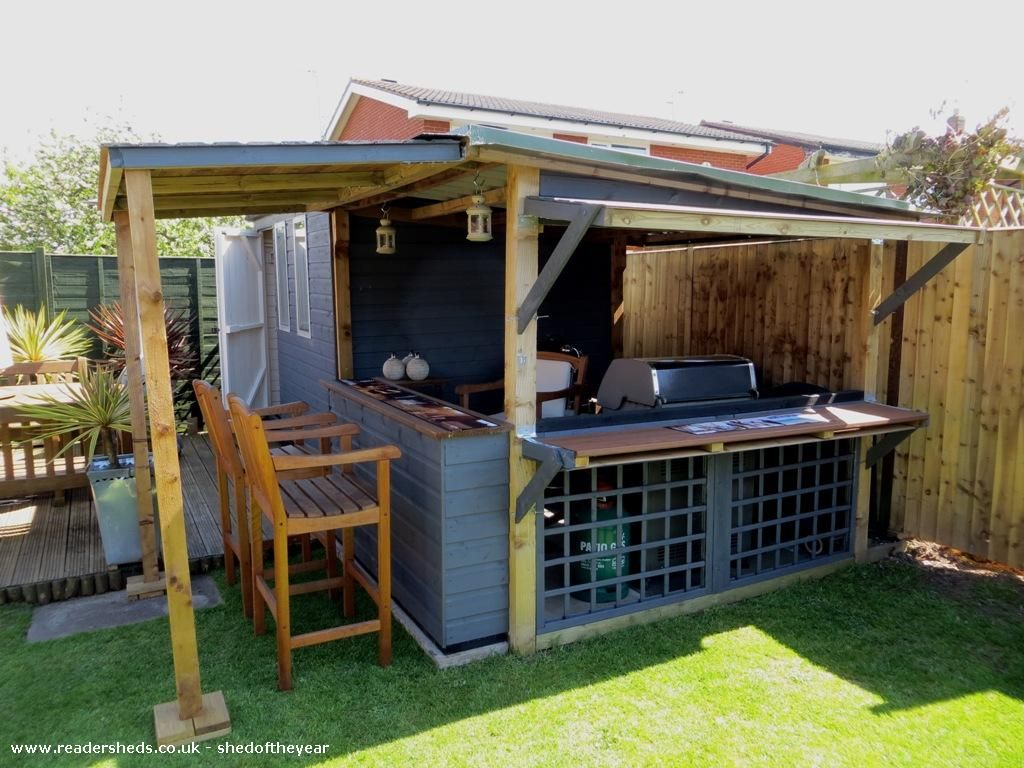 The Bbq Shed Pub Entertainment From Bottom Of Our Garden Owned By Steve Hughes Shedoftheyear Bbq Shed Bbq Gazebo Bbq Shelter Ideas