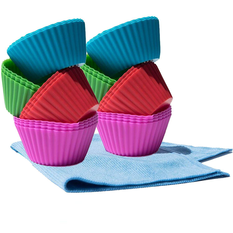 Elitekitchengear Silicone Cupcake Bakeware Set Liners 26 Pack