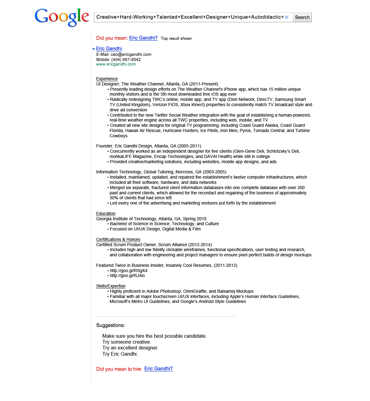 Eric GandhiS Google Themed Cv Got Him An Interview With The