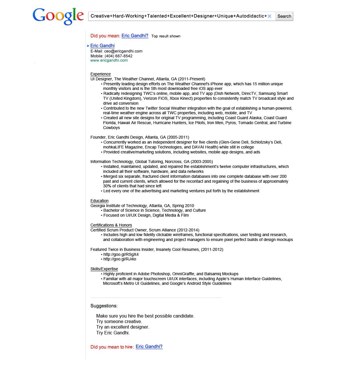 Eric Gandhi's Google themed CV got him an interview with