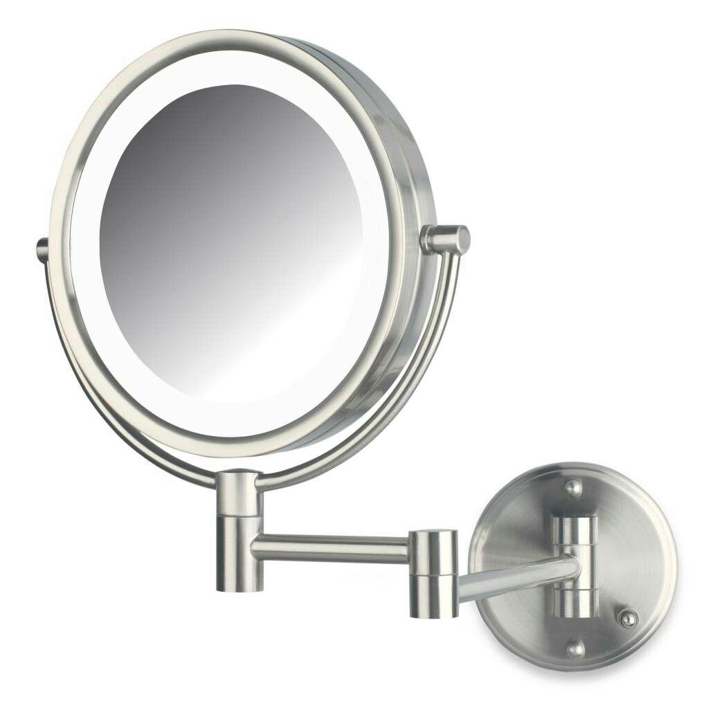 Jerdon 8x 1x Led Wall Mount Mirror Wall Mounted Makeup Mirror Lighted Wall Mirror Shaving Mirror