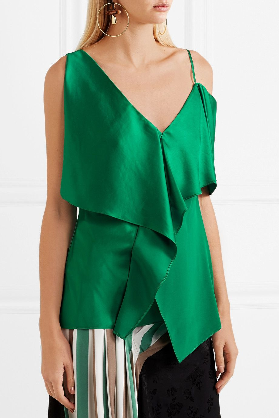 Asymmetric Ruffled Satin Top - Green Diane Von Fürstenberg Affordable Cheap Price 2018 Cool Shopping Outlet Pay With Visa T3h19DZ4