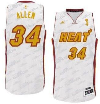 db47b115b Miami Heat 34 Ray Allen Revolution 30 Swingman White With Gold Jersey .