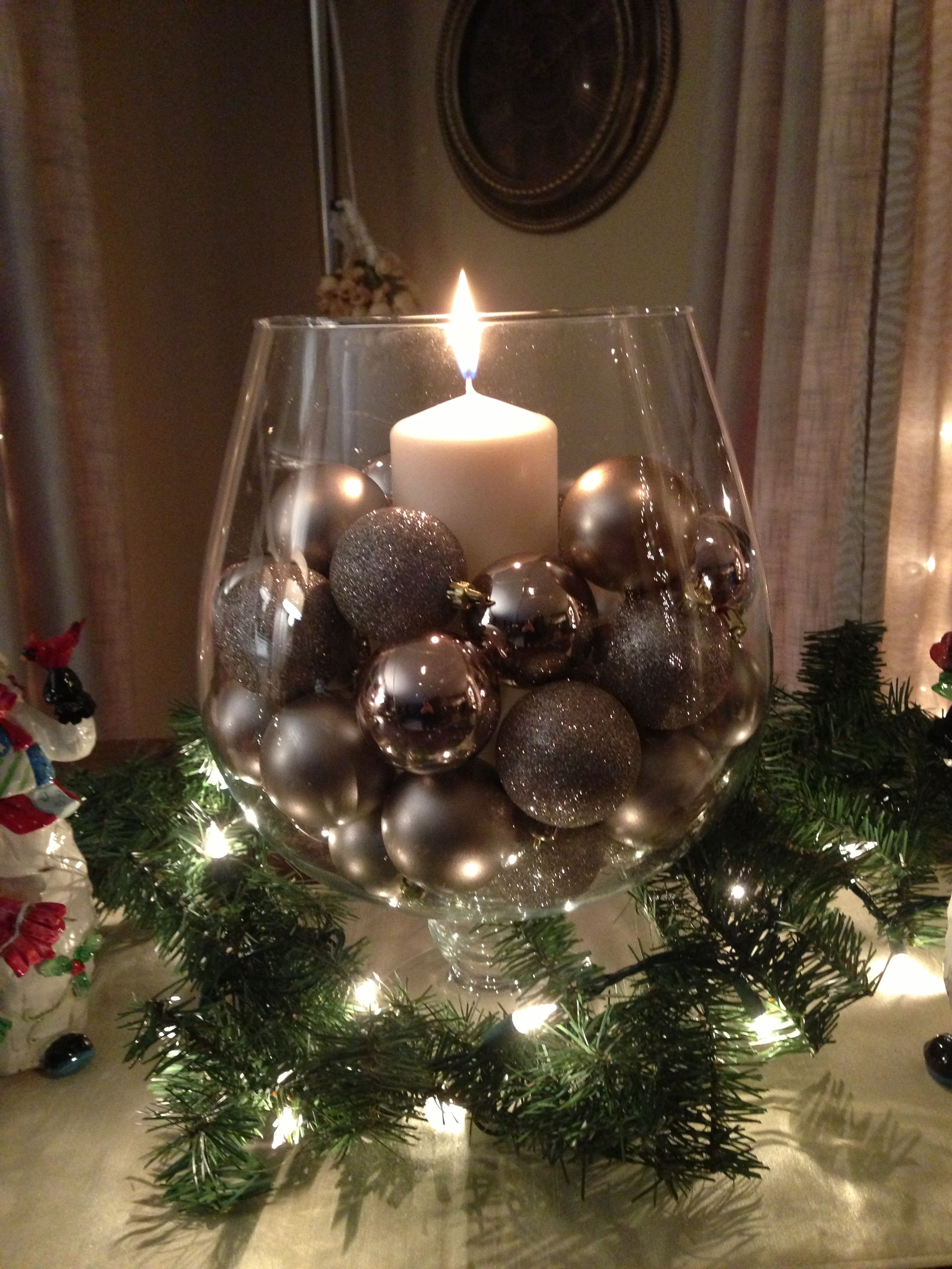 Christmas Table Centerpiece  Baubles In A Vase With Candle