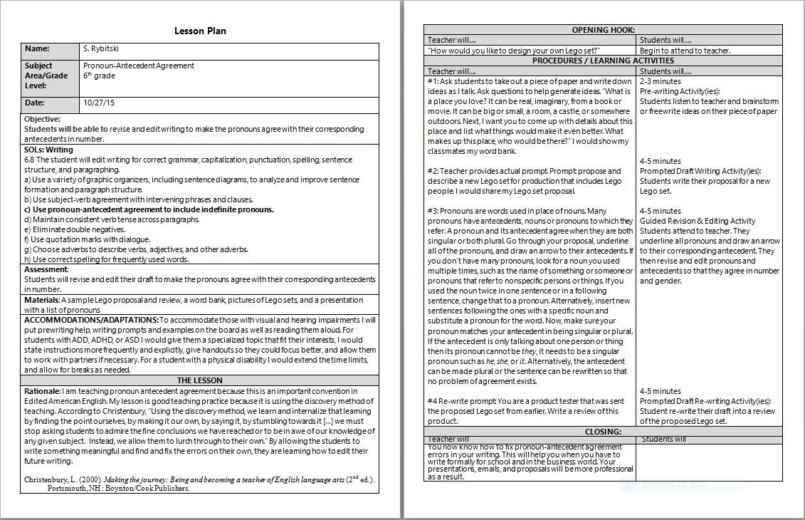 hight resolution of Pronoun-Antecedent Agreement Lesson Plan embedded in composition process    Pronoun antecedent agreement