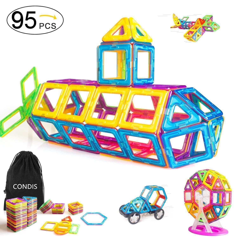 Condis 95 Piezas Bloques De Construcción Magnéticos Para Niños Juegos De Viaje Construc Juguetes Educativos Para Niños Juguetes Para Niñas Juguetes Educativos