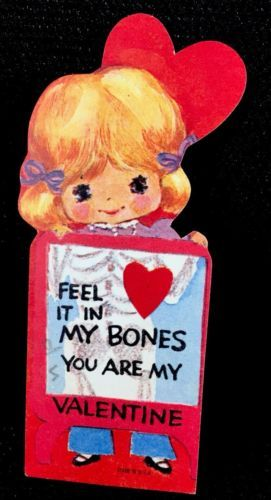Antique-Vintage-Greeting-Card-Valentine-Cute-Girl-In-X-ray-Machine-Mid-Century