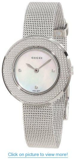 5b7d5cec506 Gucci Women s YA129517 U-play Mother of Pearl Dial with Diamonds Watch