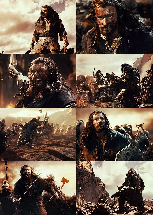 """thorin oakenshield + the battle of azanulbizar    """"We were leaderless, defeat and death were upon us. That is when I saw him; the young dwarf prince facing down the Pale Orc. He stood alone against this terrible foe, his armour rent, wielding nothing but an oaken branch as a shield… Azog the Defiler learned that day that the line of Durin would not be so easily broken. Our forces rallied and drove the Orcs back; our enemy had been defeated… but there was no feast or songs that night,"""