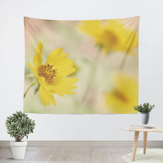 Yellow Flower Tapestry - Nature Tapestry - Yellow Wall Hanging - Art ...