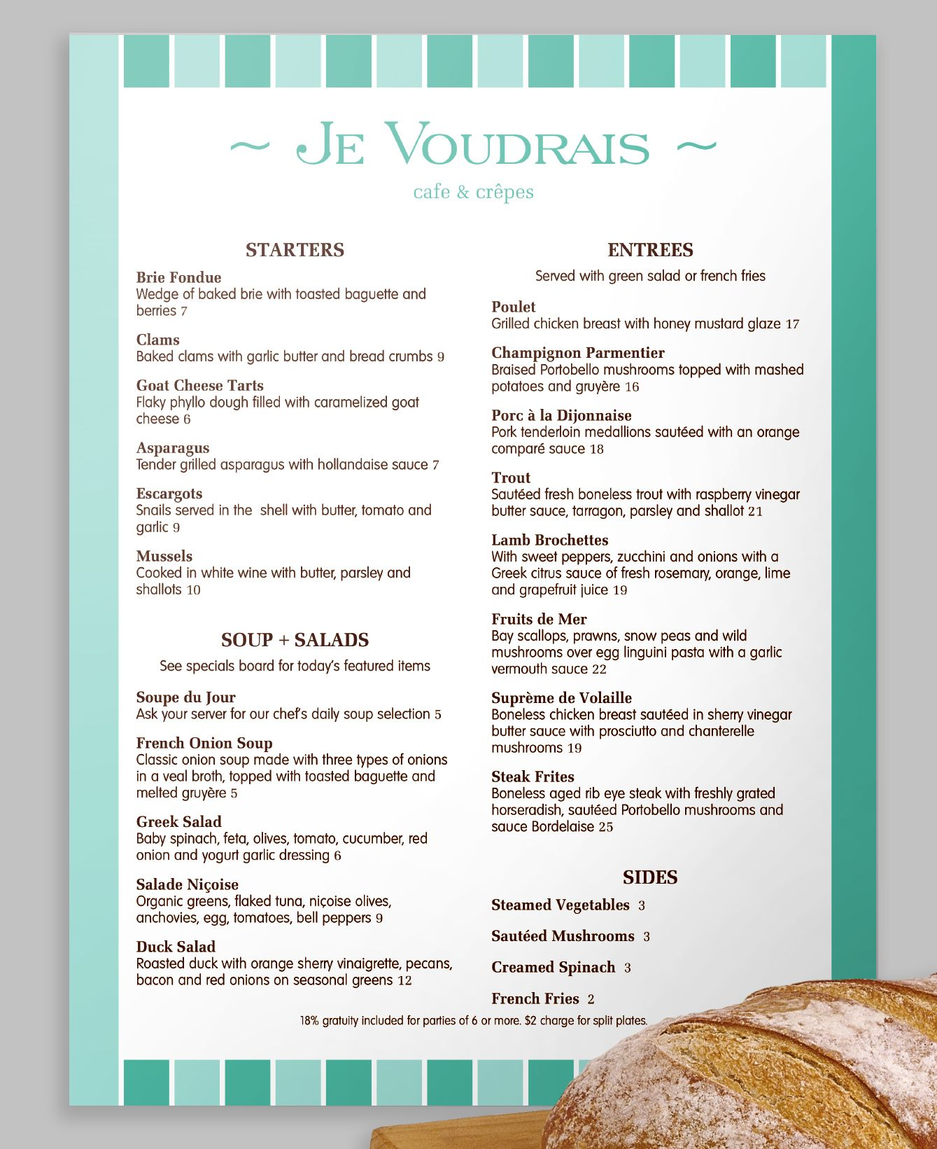 A Modern French Menu With A Stripe Design In Two Neat Shades Of