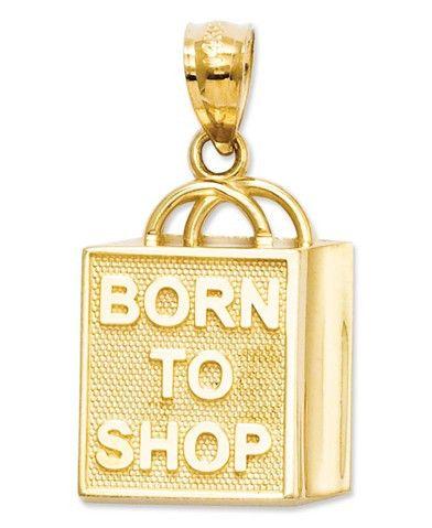 "14k Gold Charm, ""Born to Shop"" Shopping Bag Charm #PlaySportsShop #fitnessfashion #thenewme #sportclothes #playsportshop #freeshipping"