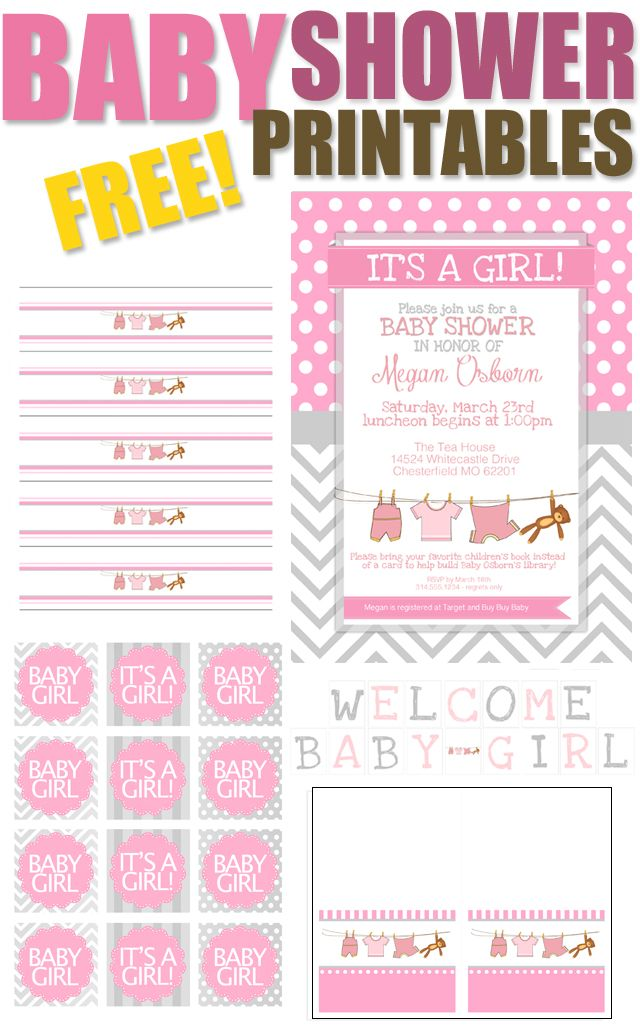 Baby Girl Shower Free Printables Baby girl shower, Babies and Girls - printable baby shower invite