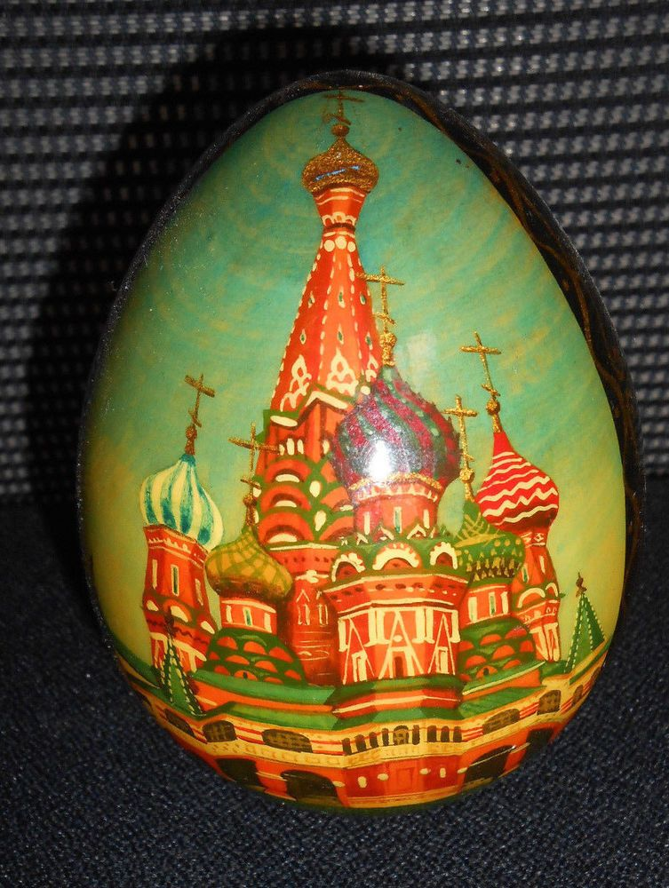 Large Vintage Hand Painted and Signed Russian Wooden Lacquer Egg